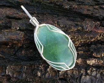Green kyanite silver wire wrap pendant