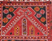 Antique Turkoman Rams Horn Prayer Rug -- 3 ft. 8 in. by 2 ft. 8 in.