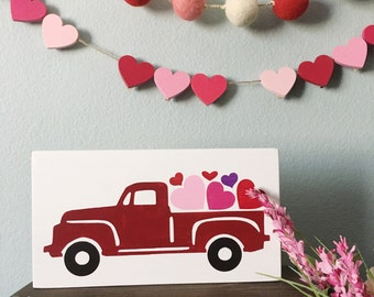 Valentineu0027s Day Vintage Truck Sign   Vintage Truck With Hearts Sign    Farmhouse Decor   Valentineu0027s
