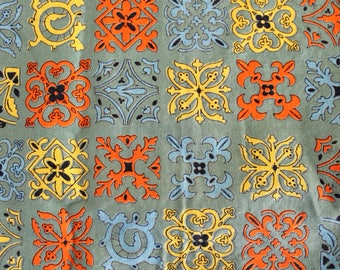 Vintage 1960s Cotton Fabric: Green, Orange, Yellow, and Black Geometric Cotton-  2.16 Yards Total