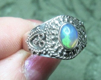 Ethiopan Opal Sterling Silver Ring Size 8