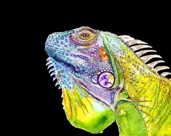 Iguana painting, iguana art print, lizard painting, lizard print, alcohol ink, wall art, reptile, animal art print, lizard painting, dragon