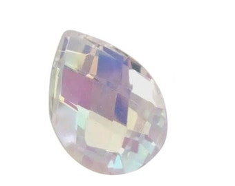 ONE 38mm  Iridescent AB Teardrop Diamond Cut Chandelier Crystals Prism