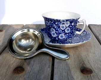 Vintage Tea Strainer,Silver Plated Tea Strainer, Silver metal Tea Strainer