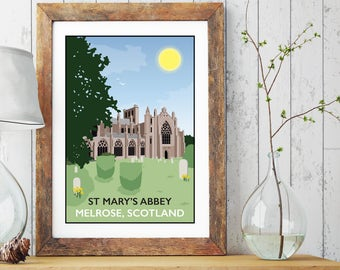 St Mary's Abbey, Melrose, Scotland Print