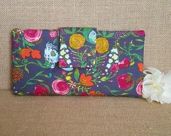 Womens Wallet, Fabric Wallet, Women's Bifold Wallet,  Floral Wallet