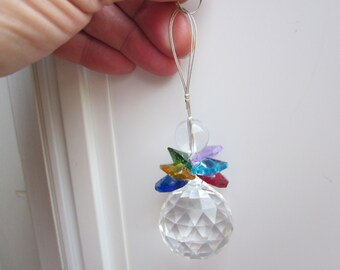 New Collection! SUNCATCHER -ANGEL w. Big faceted Ball & Multicolor wings of swarovski CRYSTAL