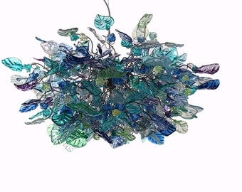 Hanging chandeliers with Sea color flowers & leaves for dinning room, living room or bedroom.