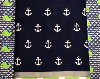 Nautical Crib Skirt/NAVY and Green with gray trim~ Adorable!  (Shipping is free with quilt)