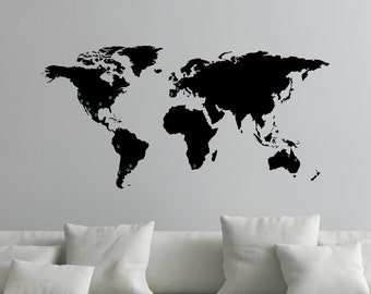 Large World Map Decal for Wall with Location Markers 0050