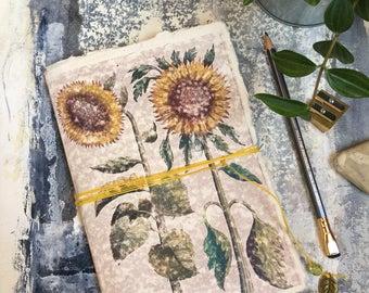Sunflower | Old botanical print notebook | Paperback sketchbook, journal, doodle pad, scrapbook | Floral stationary | A5