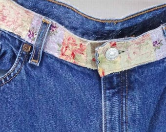 Pastel Patchwork Jeans, Upcycled Clothing, Hippie Jeans, Wearable Art, Upcycled Jeans.