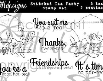 Stitched Tea Party Digital Stamp Set