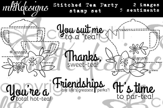 Stitched Tea Party Digital Stamp Set