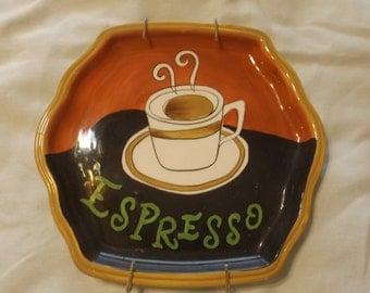 """Vigor Hand Painted Espresso Coffee Plate 8"""" Ceramic CL33-6"""