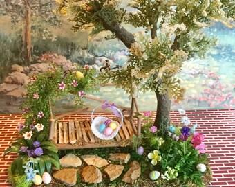 Dollhouse Miniature Easter Egg Hunt Garden 1:12 scale OOAK!