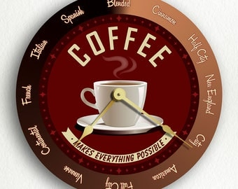 Coffee Makes Everything Possible Coffee Roasting Retro Style Silent Wall Clock