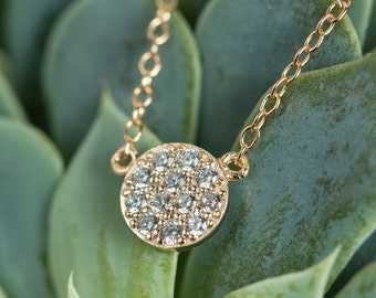 Gold Disk Necklace, Circle Crystal Necklace, Gold Necklace, Crystal Necklace, Solitaire Necklace, Dainty Gold Necklace, Gold Necklace N246