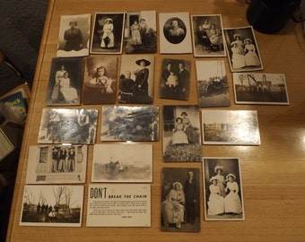Lot of 22 Old Fashioned Antique Photo Postcards