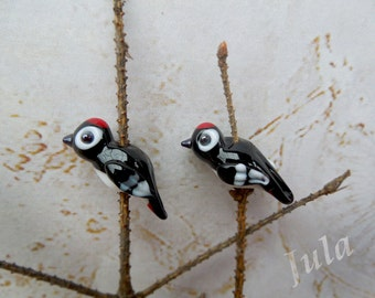 Lampwork birds, Lampwork beads, Glass birds, Woodpecker