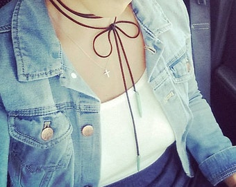 Choker Turquoise Leather Choker Vegan Suede Lariat Tie Necklace Boho Choker Gift for Her Long Modern Minimalist Spike Bullet Dagger Hippie