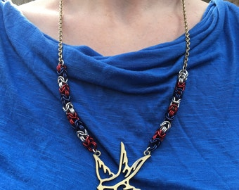Americana Chainmaille Necklace Seallow Red White Blue