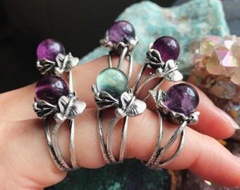 Crystal Ball Ring, Fluorite Ring, Flower Ring, Fluorite Sphere, Silver Ring, Adjustable Ring, Gift for Her, Crystal Ring, Boho Ring