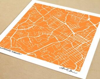 Charlottesville Map, Hand-Drawn Map Print of Charlottesville, Virginia