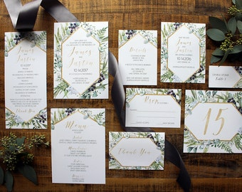 Downloadable Greenery  Eucalyptus & Gold Geometrical Wedding Invitation, Save the Date, Table Number, Menu, Place Card Program DCo Lovenotes