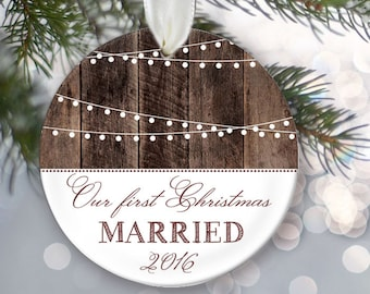 Our First Christmas Married Ornament Personalized Christmas Ornament Hanging lights Rustic wood Wedding Gift Bridal Shower Gift OR369
