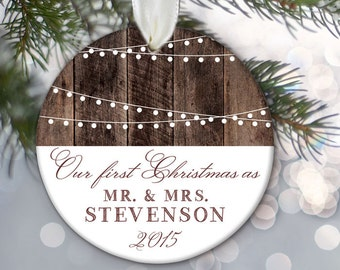 First Christmas as Mr & Mrs, Our First Christmas MARRIED Ornament, Personalized Christmas Ornament, Hanging lights, Rustic fake wood OR370