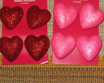 3-D Heart stickers,Glittered,3 dimensional heats,4/pkg,Mother's Day, kid's craft,card,Valentine's Day