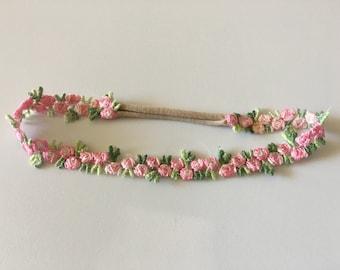 Pink Flower Rosette Skinny Boho Nylon Headband / One Size Fits Most