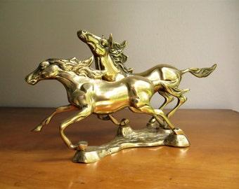 Vintage Brass Horse Figurine, Running Brass Horses Statue, Gold Horse Sculpture