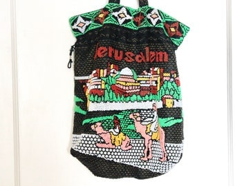 Vintage Kitsch Colourful Beaded Bag / Jerusalem Souvenir Bag / Souvenir bag / Beaded Bag / Beaded Tote / Drawstring Bag