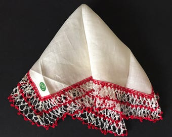 Vintage Red and White Hankie Handkerchiefs Repurpose Crochet Edging Delicate Irish Linen Hankies Handmade Wedding