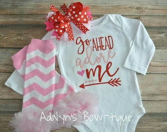Go ahead adore me... embroidered baby bodysuit, ruffle leg warmers, and hair bow headband outfit