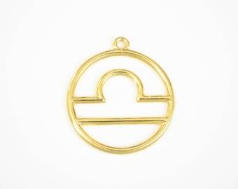 Gold Libra Charm, Libra Pendant, Libra Zodiac Charm Horoscope Pendant, (206G)