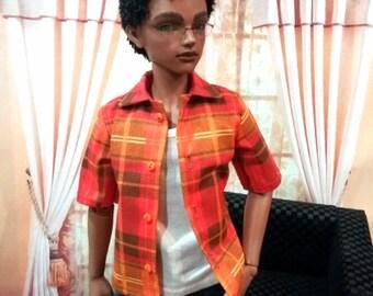 MSD Plaid Button shirt- short or long sleeve- msd bjd, Iplehouse JID- 4 colors
