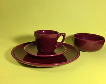 Bauer Pottery Set in Burgundy, Cup and Saucer, Dinner Plate, Cereal Bowl, Monterey Moderne, 1940's- 50's