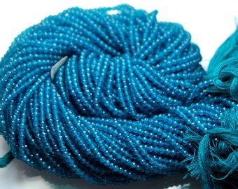 BRAND NEW, Full 13 Inches Strand,Rare Neon Blue  Chalcedony Micro Faceted Rondells,3mm Long size,