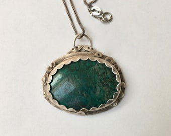 new sterling and chrysocolla pendant necklace