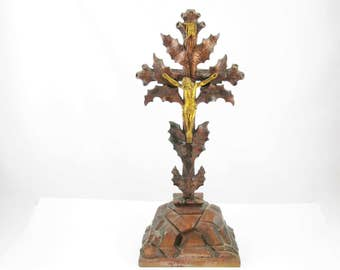 "Folkart Wood Crucifix - All Wood With Brass Christ Figure and 'INRI' Plaque - Rocks, Thorns and Cross - Beautiful -Vintage - 19"" Tall"