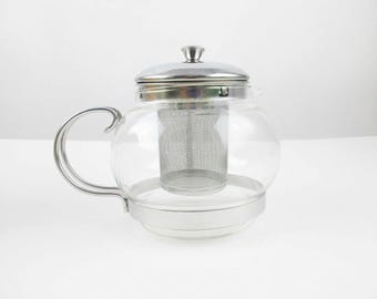 A Glass Teapot With Loose-leaf Diffuser/Filter - Metal and Glass - Three Cup Teapot - Stylish and Usable Glass Teapot