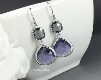 Dangle Earrings, Gift for her, Purple and Grey Earrings, Drop Earrings, Bridesmaid Earrings, Bridesmaid Gifts , Purple Earrings, Accessories