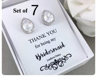 Bridesmaid Earrings Set of 7, Stud Earrings, Cubic Zirconia Stud Earrings, Sterling Silver Earrings, Bridesmaid Gift, Bridesmaids Earrings