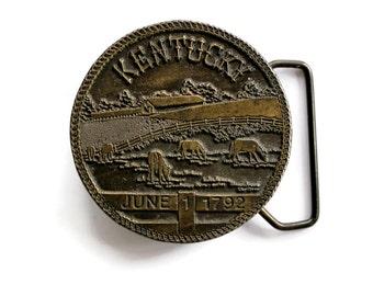 Vintage Kentucky State Belt Buckle by Lewis Buckle Co  Statehood Date Brass