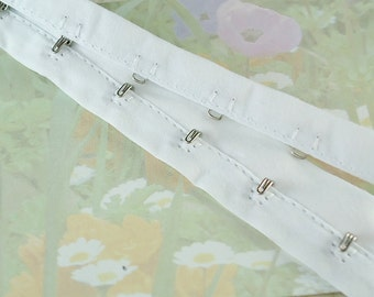 "1yd Hook-n-Eye Tape White Fabric hook and eye bustier tape trim 1"" Bra hook and eye fastener"
