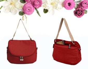Red Crossbody / Shoulder Canvas Bag, Water Resistant Canvas, Everyday Bag