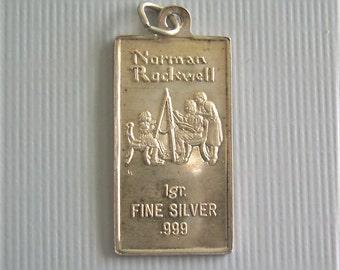 Single (1) Gram INGOT Charm Pendant-Vintage Fine 999 Silver-International Monetary Mint IMM Bullion-Norman Rockwell Art Bar Jewelry
